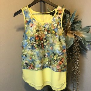 Cartise floral watercolor mixed media blouse